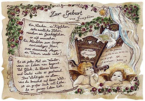 Die Staffelei Geburt-Geschenk-Karte, Taufe, Baby, Engel, Zeichnung aus Sachsen, liebevolles Gedicht, inklusive Wunschtext