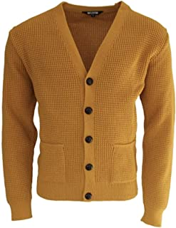 Relco Mens Mustard Waffle Knit Cardigan (M)