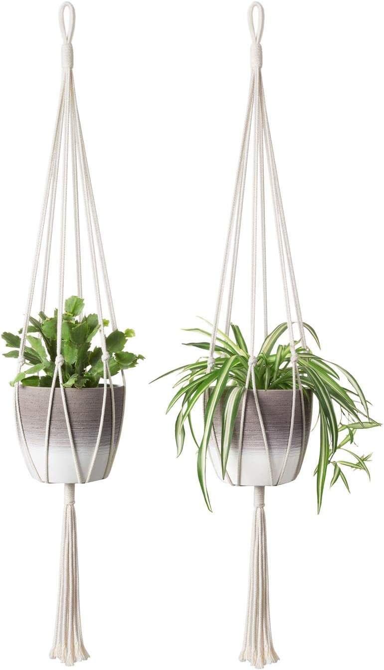 Mkono Macrame Plant Hangers Simple Design Indoor Hanging Planter Decorative Flower Pot Holder Cotton Rope for Indoor Outdoor Home Decor, 6 Legs More Stable 40 Inch, 2 Pack : Patio, Lawn & Garden