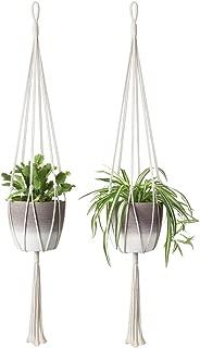 Mkono 2Pcs Macrame Plant Hanger Indoor Outdoor Hanging Planter Basket Cotton Rope Home Decor 40 Inch