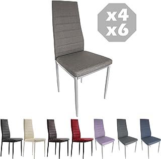MOG CASA - Conjunto de 2, 4 o 6 sillas de Comedor con Patas metálicas y tapizadas de Piel sintética alcochado - Dimensiones 42x42x98cm (Arena, 4)