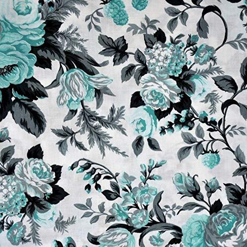Pingianer 100x160cm 100% Baumwolle Baumwollstoff Streifen Blumen Meterware Handwerken Nähen Stoff (Blume Groß Türkis Grau)