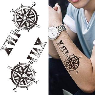 3D vlinder tijdelijke tattoo voor volwassen mannelijke vrouwelijke zwarte kompas lotus tattoo sticker water transfer been ...