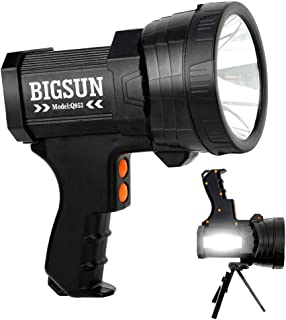 BIGSUN Q953 10000mAh Rechargeable LED Spotlight, Super Bright 6000LM Flashlight, 5 Light Modes Marine Boat Light, IPX4 Waterproof Emergency Lamp, Wall and USB Charger Included