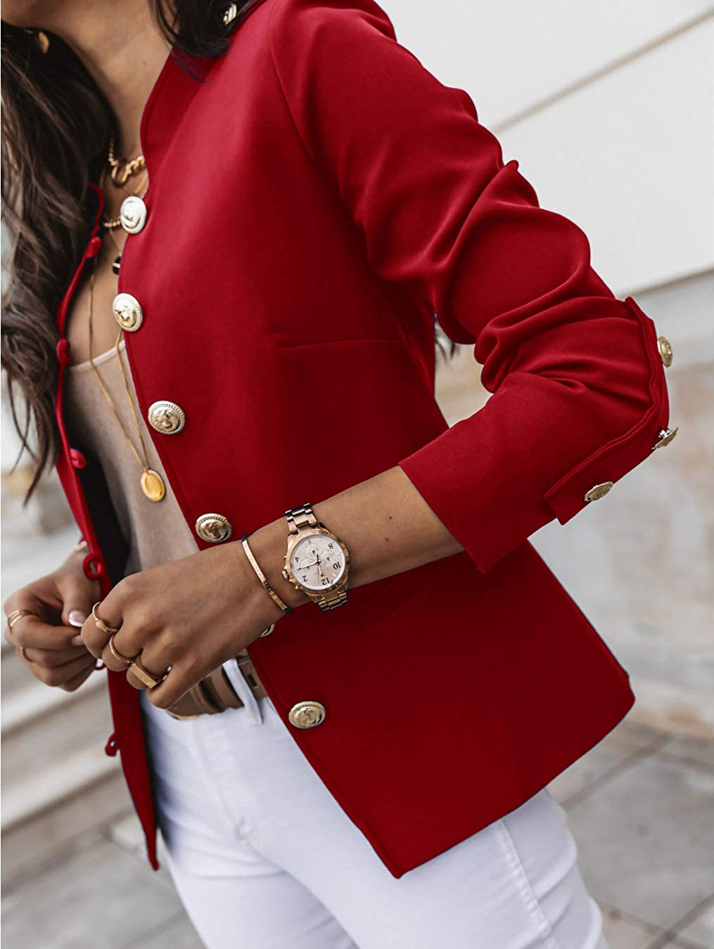 Onsoyours Blazer Damen Elegant Mantel mit Knopfleiste Military Coat Lang Blazer Slim Fit Blazer Freizeit Stehkragen Business Büro Anzug Jacken Rot