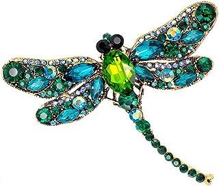 Bullidea Metal Pin Badge Brooch Man-made Diamond Crystal Christmas Festive Brooch Pin Dragonfly Corsage Green for Suit Shi...