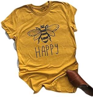 Yeirui Womens Letter Print Casual Crewneck Short Sleeve Blouse T-Shirts Tops
