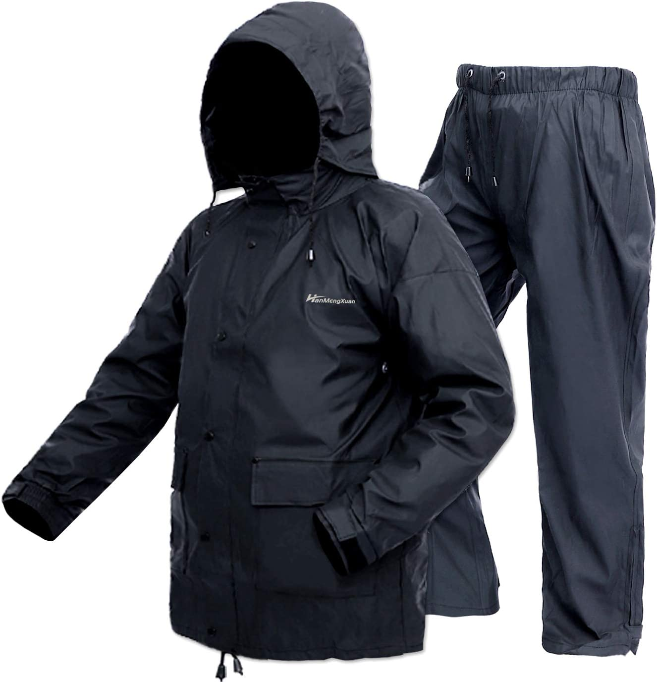 Rain Suits for Mens/Womens Waterproof Lightweight for Work Rain Gear Protective Rainwear Rain Coats (Jacket & Pants)(Small, Black)