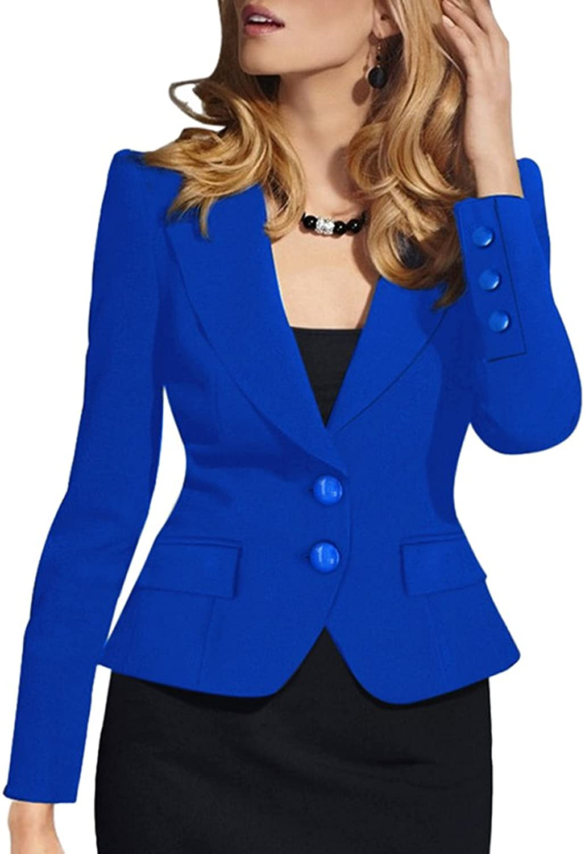 SEBOWEL Women's Casual Work Solid Long Sleeve Slim Fitted Office Blazer Suit Jacket