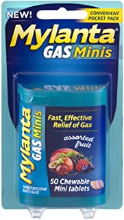 Mylanta Gas Minis Assorted Fruit, 50 Chewable Tablets (Pack of 2)