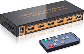 SkycropHD 4K@60Hz 5 Port HDMI Switch with Remote,5 in 1 Out 4Kx2K HDMI Auto Switcher, Support UHD, HDR10, Dolby Vision, At...