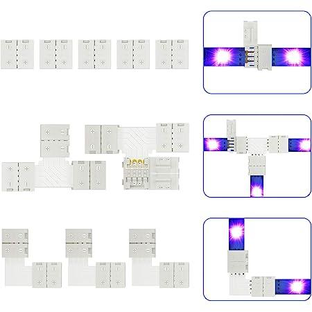 LED Strip Verbinder für 4 polig 10mm RGB SMD 5050 LED Strip Zubehör, 5x LED Streifen Verbinder, 3x Eckverbinder, 2x T-förmige Verbinder