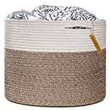 Goodpick Large Cotton Rope Basket 15.8'x15.8'x13.8'-Baby Laundry Basket Woven Blanket Basket Nursery Bin