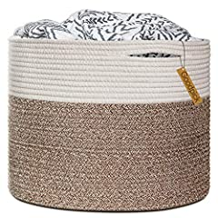 100% cotton rope, healthy material without any chemicals woven basket Soft and firm basket, no collision scratches, perfect to accommodate baby's clothes and other toys in nursery Durable handles design, easy to move and take away, free awesome pract...