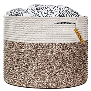 Goodpick Large Cotton Rope Basket 15.8″x15.8″x13.8″-Baby Laundry Basket Woven Blanket Basket Nursery Bin