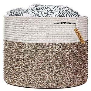 "crib bedding and baby bedding goodpick large cotton rope basket 15.8""x15.8""x13.8""-baby laundry basket woven blanket basket nursery bin"