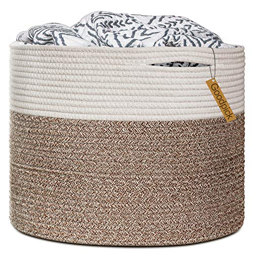 Goodpick Large Cotton Rope Basket 158quotx158quotx138quotBaby Laundry Basket Woven Blanket Basket Nursery Bin