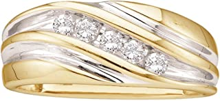 GemApex Mens Five Stone Diamond Wedding Band 14k White Yellow Gold Anniversary Ring Round Channel Set 1/4 ctw