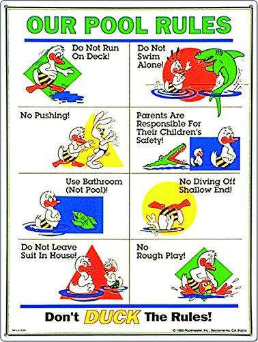 Poolmaster 41384 Rules for Public Spa Schild für kommerzielle Pools, Oregon-konform Unsere Pool-Regeln, Entenanimation 18