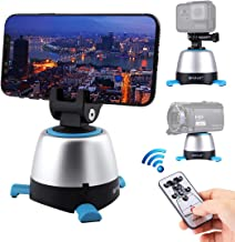 360 Degree Automatic Rotation Panoramic Tripod Head, Remote Control Tripod Head for Cell Phone, Action Camera, Lightweight Camera and Camcorder Under 1kg(2.2lb),Can Work with Tripod and Selfie Stick