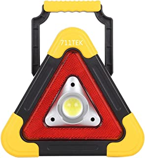 711TEK Portable LED Work Light Multi-function Triangle COB Bright Flood Light with Emergency Warning Light for Camping Hiking Fishing Car Repairing and Emergency Indoor Outdoor Use (1 Pack)