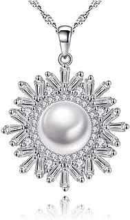 İnci Kolye Kar Tanesi Zirkon Taşlı Gümüş Bayan Kolye