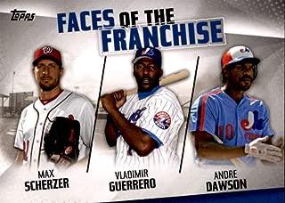 2019 Topps Faces of the Franchise Trios #FOF-29 Andre Dawson/Max Scherzer/Vladimir Guerrero Montreal Expos/Washington Nationals Baseball Card