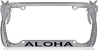 Custom Brother - ALOHA Palm Tree Design Chrome Metal License Plate Auto Tag Frame