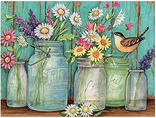 DIY Diamond Art Painting Handmade Art Drawing Small Flowers in a Bottle Exquisite Plant Decoration Handmade Art Gift Mosaic Ornaments