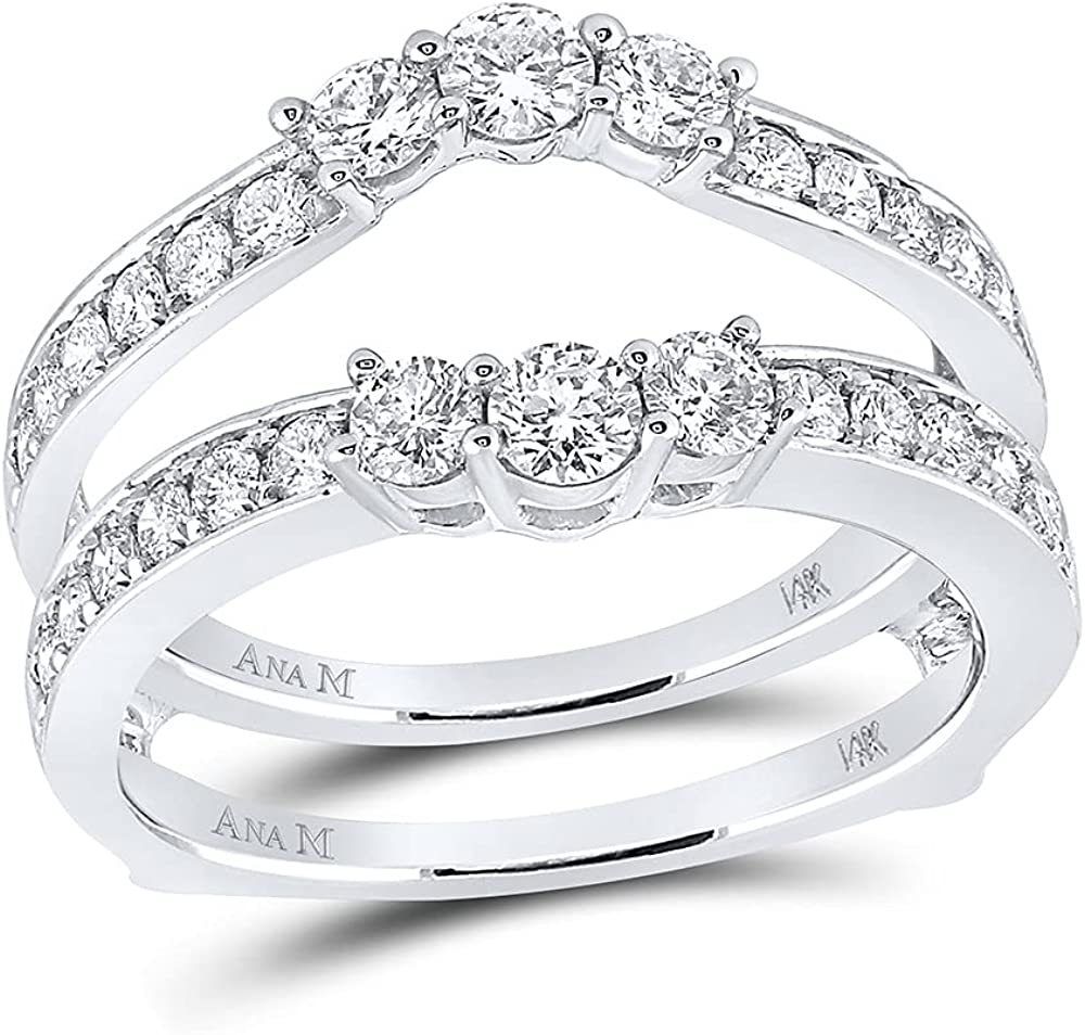 Attention brand 14kt White Gold low-pricing Womens Round Diamond Ring 1 Wrap Guard Enhancer