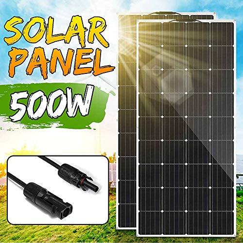 LAMP-XUE Panel Solar 18V 2 Pcs 250W 500W vatios Panel Solar Flexible monocristalino Celular Módulo de Coches RV Marino/Barco/Uso en el hogar 12V 24V 36V