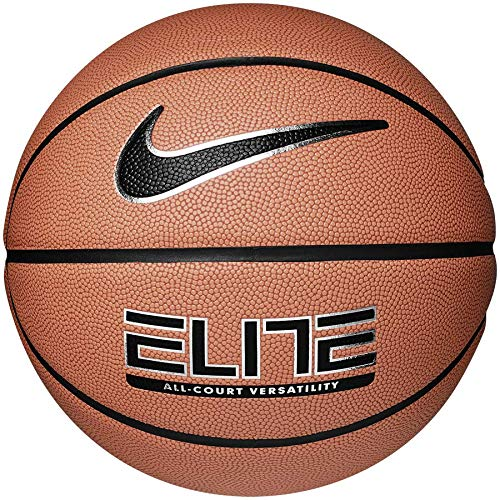 Nike Elite All-Court Basketball - Amber/Black/Metallic Silver/Black, Size 06