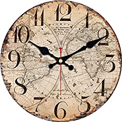 ShuaXin Wooden Wall Clock 6 Inch Small Kids Room Wall Clock,Vintage Style Map Design Big Arabic Numerals Home Decorative Silent Non Ticking Wall Clock