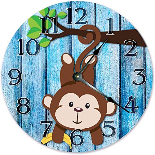 LKLFC Orologio da Parete Grande Orologio da Cucina Simpatico Scimmia da Appendere su Ramo Orologio da Cartone Animato Orologio da Soggiorno Orologio da Parete Grande per Ufficio Scuola Casa So