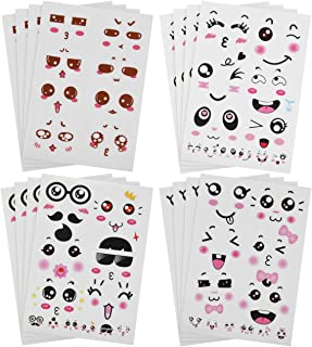 Bluecell 16pcs Cute Cartoon Face Expression Stickers with Eyes Nose Mouth Creative Stationery Sticker for Books Cup Water Bottles DIY Decoration (Face Expression)