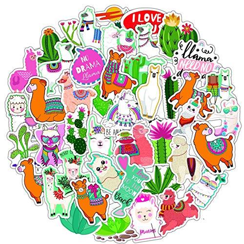 SHIHE Cute Alpaca Cactus Graffiti Stickers Notebook Coche eléctrico monopatín teléfono móvil Casco Pegatinas de computadora 50 Hojas