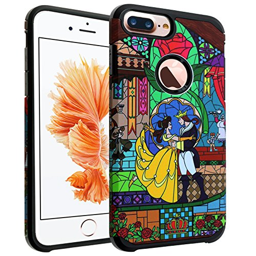 iPhone 8 Plus Case, DURARMOR Beauty and The Beast Dual Layer Hybrid Shockproof Ultra Slim Fit Armor Air Cushion Defender Protector Cover for iPhone 8 Plus Beauty and The Beast