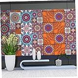 Deanyi PVC wasserdichte Selbstklebende Wand-Aufkleber Fliese Peel Aufkleber Marokkanische Art-Haus Stock-Tapete Bunte ZYM-0015 Typ 1pc Zubehör für das Badezimmer