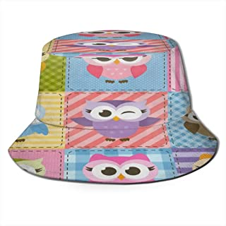 Fisherman Hat Colorful Funny Owl Sun Hat Women Men Eye Protect Breathable Bonnie Cap 3D Printed Beach Hat Durable&Reversible for Summer Outdoor