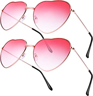 Boao 2 Pairs Hippy Specs Glasses Heart Shaped Sunglasses for