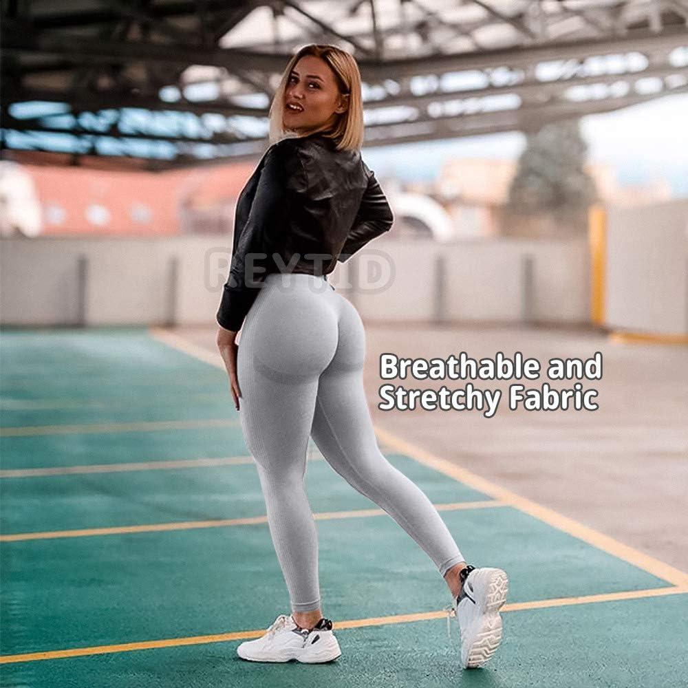REYTID Womens Gym Smile Seamless Leggings High Waist Yoga Pants Butt Lift Stretchy Workout Tights Leggings