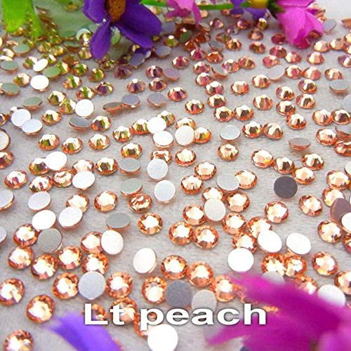 [A18-A31] 10 Sizes SS3-SS30 Nice Colors Round Shape Flatback Glue on Glass Crystal Rhinestone Beads Nail Art DIY,Lt Peach,SS10 1440pcs