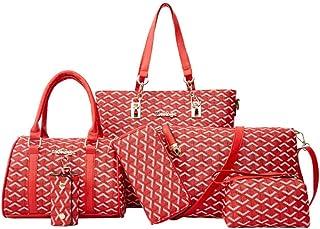 Women Fashion Handbags Tote Bag Shoulder Bag Top Handle Satchel Purse Set 6pcs