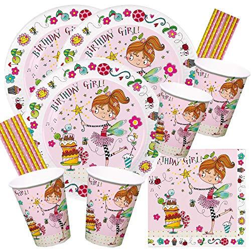 Rachel Ellen/Hobbyfun 68-teiliges Party-Set Birthday Girl - Goldige Fee - Teller Becher Servietten Trinkhalme für 16 Kinder