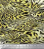 Soimoi Gelb Seide Stoff Leopard & Tiger Tierhaut Stoff