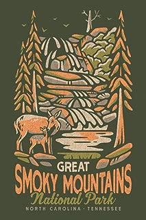 Great Smoky Mountains National Park, North Carolina - Distressed Vector 100083 (12x18 Art Print, Wall Decor Travel Poster)