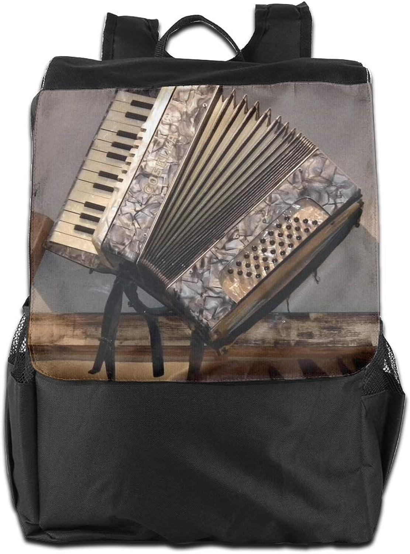 Accordion Vintage Printed Girls Backpack Lightweight Casual Shoulder Bag School Daypacks