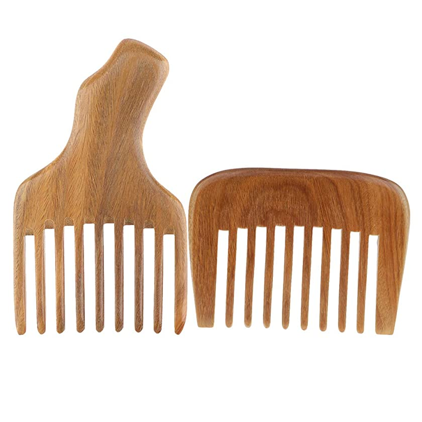 写真ジムP Prettyia 2個 木製櫛 ウッドコーム ワイド歯 ギフト 髪型 ひげ 口ひげ