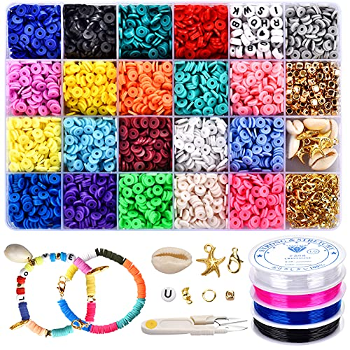 5000 Pcs Polymer Clay Beads for Jewelry Bracelets Making, Flat Beads, Bracelet Beads, Necklace Bracelet Making Kit with 6mm 20 Colors Round Spacers, Letters, Stars and 4 Rolls Elastic Rope for DIY