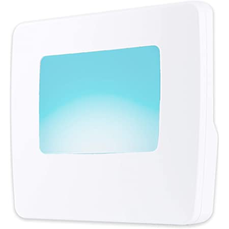 GE Flat Panel LED Night Light Plug-in, Always On, Home Décor, Compact, Energy Efficient, Soft Teal, White Base, for Elderly, Ideal for Bedroom, Bathroom, Nursery, Kitchen, 40867